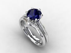 engagement ring set, blue sapphire engagement, Diamond band, wedding ring set,  curved, sapphire, pave, solitaire, diamond engagement, blue. $4,690.00, via Etsy.