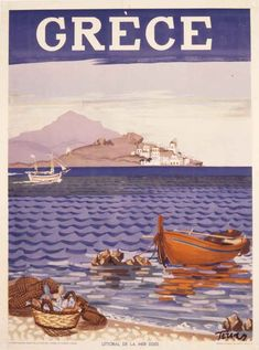 1948 – Littoral of Aegean Sea, published by the G.O, Designed by Panagiotis Tetsis 1948 – Littoral of Aegean Sea, published by the G.O, Designed by Panagiotis Tetsis Old Posters, Beach Posters, Retro Posters, Vintage Travel Posters, Vintage Ads, Vintage Postcards, Mykonos, Santorini, Greece Design