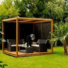 salon de jardin d'été en bois, pergola cubique en bois