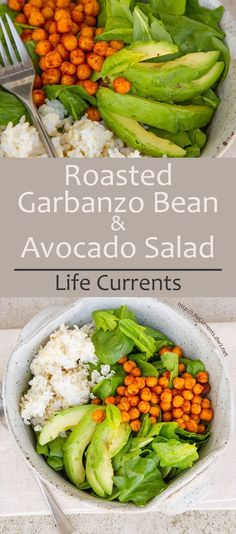 Roasted Garbanzo Bean and Avocado Salad with spiced roasted chickpeas, healthy avocado, brown and white rice, and big handfuls of fresh spinach! Roasted Garbanzo Beans, Garbanzo Bean Recipes, Cooking Garbanzo Beans, Vegetarian Recipes, Cooking Recipes, Healthy Recipes, Garbanzo Salad, Chickpea Recipes, Yummy Recipes