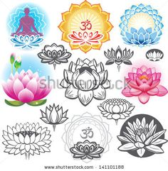 Set of lotuses and esoteric symbols by Viktoria, via Shutterstock