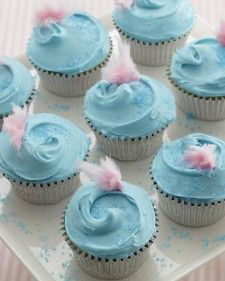 Cotton Candy Cupcakes - Uses cake mixes for the whole thing but I wanted this for the idea of light blue frosting with a bit of cotton candy on the top. so cute!  Also, use a bit of blue food coloring to make the vanilla cake bluish color