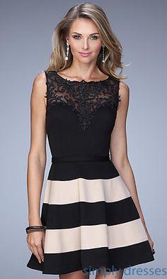 Short La Femme Sleeveless Lace Black Striped Dress