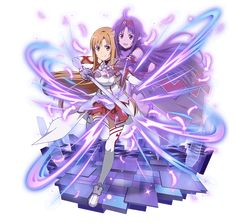 Asuna y Yuki Arte Online, Online Art, Sword Art Online Yuuki, Desenhos Love, Kirito Asuna, Online Anime, Anime Shows, Kawaii Anime, Anime Characters