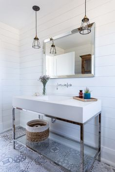 Vanity and sink as one? Glass shelf at base helps small space feel open.