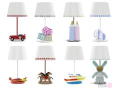 Toy Box Lamp Set. Contemporary and Traditional Table Lamps for baby and toddlers areas. 8 Lights with included color choices. 8 Lamp Meshes by DOT of The Sims Resource. Found in TSR Category 'Sims...