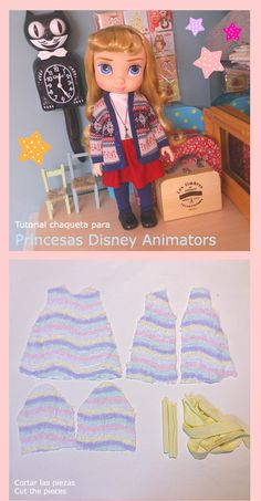 Disney Animator Doll Jacket Pattern and Tutorial Doll Crafts, Diy Doll, Doll Clothes Patterns, Doll Patterns, Disney Baby Dolls, Disney Animators Collection Dolls, Plushie Patterns, Disney Animator Doll, Rapunzel