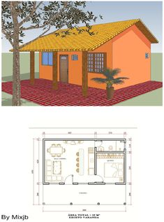 Resultado de imagem para casas de campo simples Micro House Plans, Small House Plans, House Front Design, Tiny House Design, Cottage Floor Plans, House Floor Plans, Pallet House Plans, Small Bungalow, Small Cottage Homes