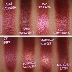 Cranberry/marsala swatches: Anastasia Beverly Hills sangria, makeup geek showtime, Mac let's roll, Kat von d raw power, colourpop drift, marsala metallic, marsala glitter and marsala satin