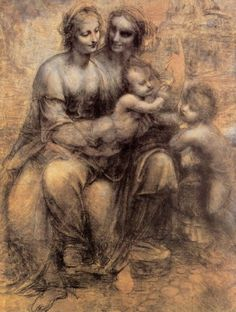 'The Virgin and Child with St Anne and St John the Baptist' Sometimes called 'The Burlington House Cartoon' a drawing by Leonardo da Vinci Charcoal, black and white chalk on tinted paper mounted on canvas. Dimensions: x : Location-National Gallery, London Giorgio Vasari, Leonardo Da Vinci Biography, Art Ninja, Holy Art, Burlington House, Saint Jean Baptiste, National Gallery, High Renaissance, Santa Ana