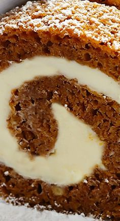 Pumpkin Roll - this is the ultimate fall dessert! A pillowy soft and tender pumpkin cake is covered with a rich cream cheese filling then rolled, chilled and sliced for a gorgeous show-stopping dessert! Thanksgiving Desserts, Christmas Desserts, Thanksgiving Sides, Cake Roll Recipes, Dessert Recipes, Burger Recipes, Recipes Dinner, Pumpkin Bread, Pumpkin Spice