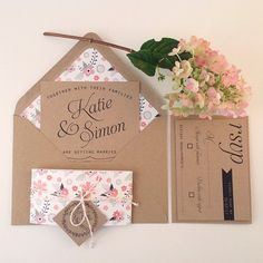 Kraft Wedding Invitation Suite Kraft lined by papertreemedia
