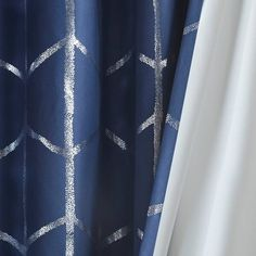 Shop for Intelligent Design Khloe Total Blackout Metallic Print Grommet Top Curtain Panel. Get free delivery On EVERYTHING* Overstock - Your Online Home Decor Outlet Store! Blackout Panels, Blackout Windows, Navy Curtains, Window Curtains, Drapery Panels, Window Panels, Intelligent Design, Metallic Prints, Blush And Gold