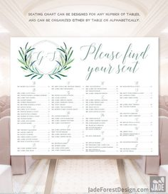 Greenery Wedding Seating Chart Alphabetical Seating /