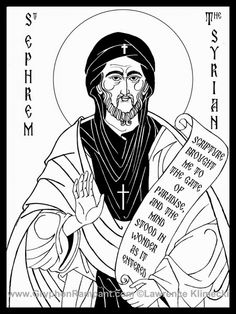 St. Ephrem by Lawrence Kimecki.  I like the use of white line in all the black areas