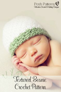 Crochet Pattern - This elegant crochet hat pattern features an easy textured stitch and includes directions for all sizes. Perfect for babies, kids, boys, girls, women, and men! By Posh Patterns.