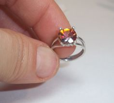 Rainbow Topaz Ring- Sterling Silver Ring- Gemstone Ring- Pinkie Ring- Size 3 1/2-Gifts For Her on Etsy, $50.00