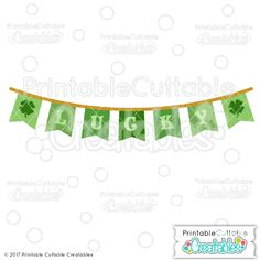 St. Patricks' Day Lucky Banner FREE SVG File - Free SVG Cut Files for Silhouette Cameo, Curio, Cricut Explore, Maker, Brother Scan N Cut, Pazzles InVue, and other craft cutting machines! Free St. Patrick's Day SVG files for scrapbooking, card making, paper crafts, HTV craft projects, and other DIY crafts