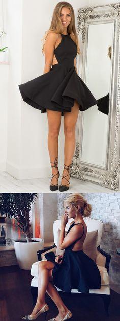 little black dress, short homecoming dress, black homecoming dress, backless homecoming dress, 2017 homecoming dress