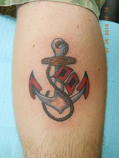 Anchor with Hurricane Flags tattoo by Brent  Wicked Parrot Tattoo