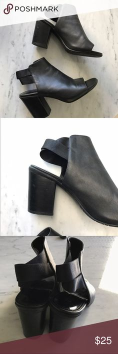 KENNETH COLE Black Strap Back Mules Reposhing. Just never got around to wearing! Chic cross back open toe sandal/boot? What does one call these LOL super cute for fall! Small scuff detailed on second photo. Kenneth Cole Shoes Ankle Boots & Booties