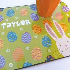 Easter personalised placemat - great gift for kids this Easter. Visit www.hardtofind.com.au #gift #easter #easterbunny