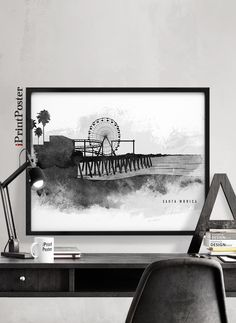 Santa Monica art print, Santa Monica California poster, Wall art, Art prints, Black & white, Travel, Home Decor, City prints, iPrintPoster by iPrintPoster on Etsy