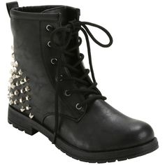 Hot Topic Black Studded Heel Combat Boots (65 AUD) ❤ liked on Polyvore featuring shoes, boots, black laced boots, lacing combat boots, black lace up boots, black evening shoes and black military boots