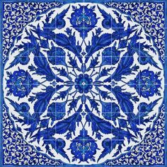 Blue and white tiles create a large tile.