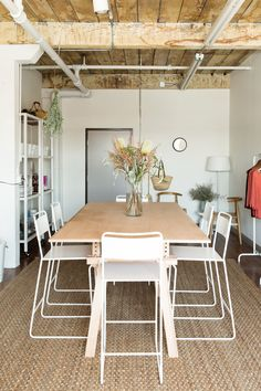 jessica comingore studio | overall studio view, featuring west elm's bent metal counter stools.