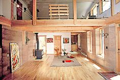 Rammed earth home with loft