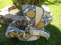 Granite Damask with Charcoal Infant Car Seat Cover