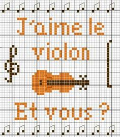 musique - music - violon - point de croix - cross stitch - Blog : http://broderiemimie44.canalblog.com/