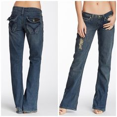 """Stitch's Sexy flare jeans - Zip fly with button closure - 5 pocket construction - Distressed details - Flare leg - Approx. 7"""" rise, 32"""" inseam - Imported Fiber Content: 100% cotton Care: Machine wash Fit: this style fits true to size.  Bundle for even bigger savings! Offers welcome. No trades. Stitch's Jeans Flare & Wide Leg"""
