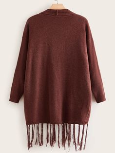 Ad: Plus Open Front Pocket Fringe Hem Cardigan. Tags: Casual, Brown, Plain, Longline, Cardigan, Fringe, Pocket, Long Sleeve, Regular Sleeve, Fall/Winter, 100% Polyester, Polyester, Fabric has some stretch, Oversized, No #fashion #womenfashion #womenclothes #shein