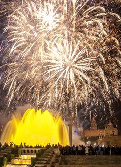 Montjuïc de fiesta en Barcelona. Catalonia