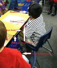 Great description of the acommodations that can be made on a classroom desk for children with sensory issues. Pinned by SPD Blogger network. For more sensory-related pins see http://pinterest.com/spdbn