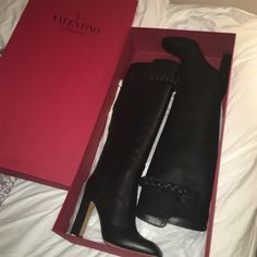 Valentino braid detail Boot Never worn// brand new with box (bought for $1,845 w/ tax) offers are welcomed because I don't know how much I want to sell for :-) Valentino Shoes Over the Knee Boots