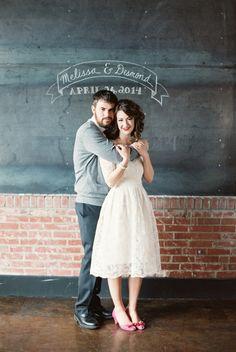 A School Sweetheart Styled Wedding Shoot - Bride and Groom with Chalkboard Backdrop