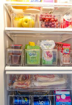 Use plastic containers to keep your fridge organized.