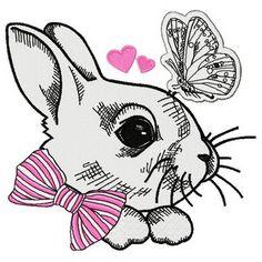 White bunny 3 machine embroidery design. Machine embroidery design. www.embroideres.com