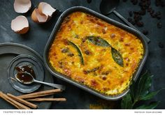 Fragrant spiced beef mince baked with raisins, bay leaves and a savoury custard topping (photography by Tasha Seccombe) Mince Recipes, Cooking Recipes, Savoury Recipes, Bobotie Recipe South Africa, Mince Dishes, Beef Dishes, Spiced Beef, Good Food, Yummy Food