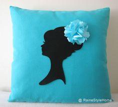 Aqua Blue Cameo Pillow