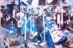 '125th Street.' Acrylic and Mixed Media On Canvas. #RosannaJacksonWright #Art #Painting #Drawing #Street #CityScape #Urban #Abstract #Figurative #York #England #NYC #USA #Genoa #Italy #Mexico #Philippines #Kingston #Jamaica #Bronx #Harlem