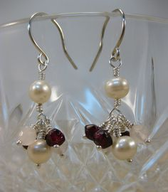 Luminous white freshwater pearls,garnet and rose quartz gemstone beads sterling silver drop earrings - pinned by pin4etsy.com