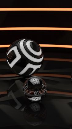 3d white and black sphere Iphone 5 wallpaper