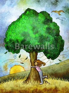 """""""Tree hug"""" - Illustrated nature posters and prints available at Barewalls.com"""