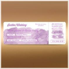 Lila akvarelové svatební oznámení vstupenka