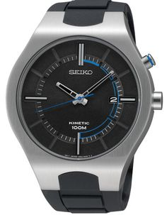 Seiko Mens Kinetic Recraft Watch - Stainless Steel - Black Rubber Strap