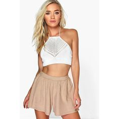 Boohoo Jenny Suedette Flippy Short ($16) ❤ liked on Polyvore featuring shorts, mocha, party shorts, short culottes, flat-front shorts, sequin shorts and sequin hot pants